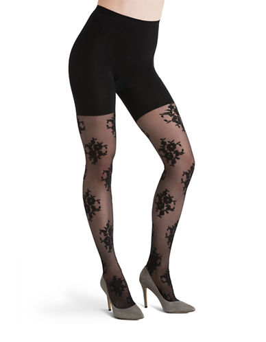 Assets Red Hot Label By Spanx Floral Shaping Tights-BLACK-1 plus size,  plus size fashion plus size appare