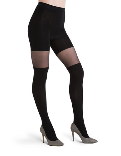 Assets Red Hot Label By Spanx Patterned Over-The-Knee Tights-BLACK-2
