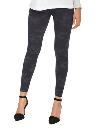Spanx Camouflage Seamless Shapewear Leggings-BLACK CAMO-Small