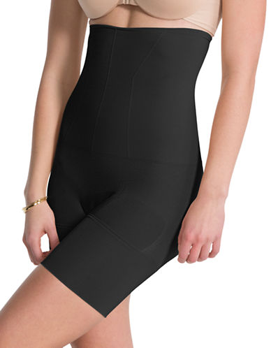 Assets Red Hot Label By Spanx Flat-Out Flawless High-Waist, Mid-Thigh Shaper-VERY BLACK-X-Large