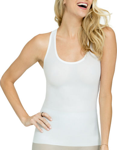 Spanx Perforated Racerback Tank Top-WHITE-Medium