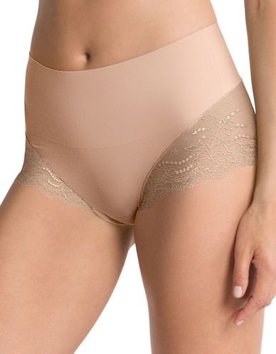 Spanx Lace Hi-Cut Hipster Briefs-NUDE-X-Large