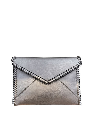 Design Lab Lord & Taylor Metallic Envelope Clutch-GREY-One Size