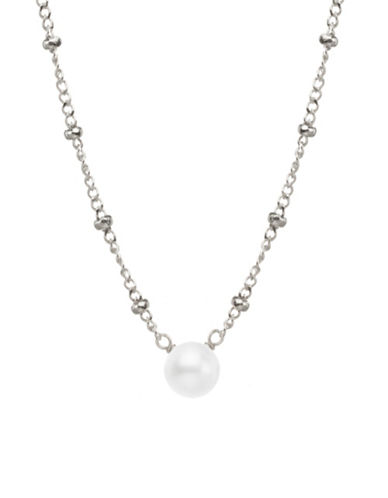 Dogeared 6mm Round White Freshwater Pearl and Sterling Silver Beaded Chain Necklace-SILVER-One Size