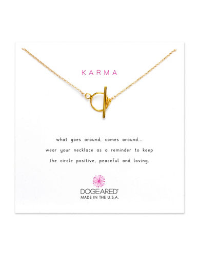 Dogeared Karma Sterling Silver Toggle Necklace-GOLD-One Size