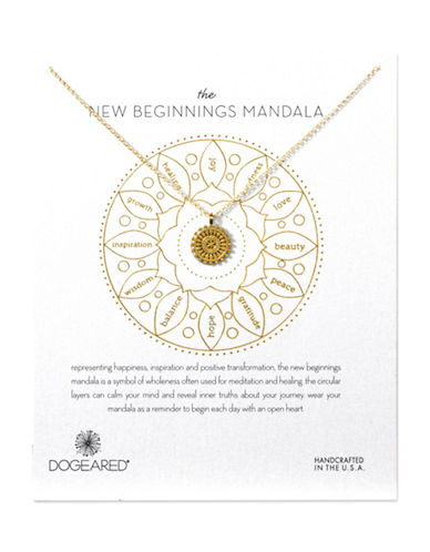 Dogeared New Beginnings Mandala Sterling Silver Pendant Necklace-GOLD-One Size