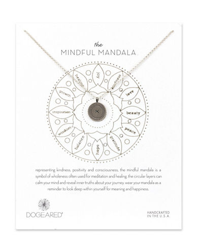 Dogeared Mindful Mandala Sterling Silver Pendant Necklace-SILVER-One Size