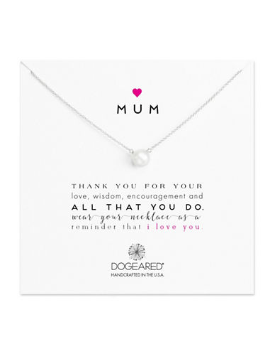 Dogeared Heart Mum 8-8.5MM Freshwater Pearl Sterling Silver Necklace-SILVER-One Size