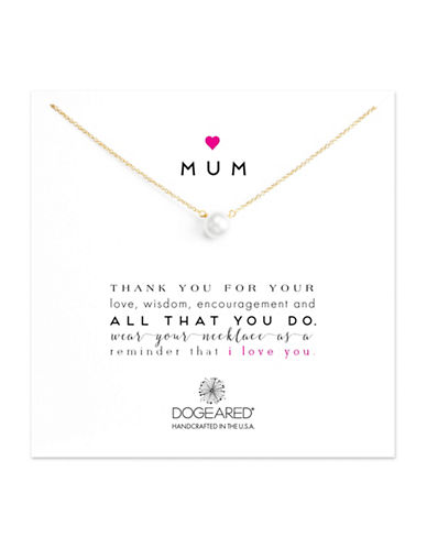 Dogeared Heart Mum 8-8.5MM Freshwater Pearl Sterling Silver Necklace-GOLD-One Size