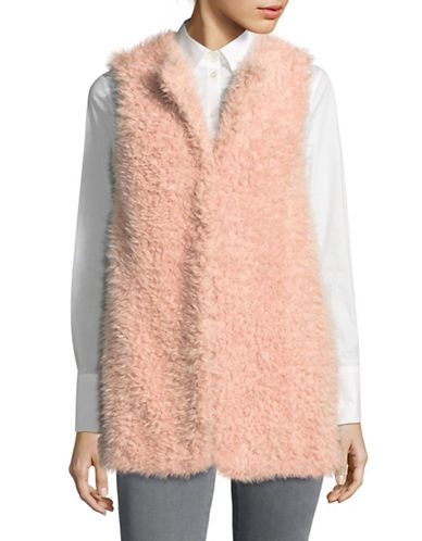 Design Lab Lord & Taylor Shaggy Faux Fur Vest-PINK-Large