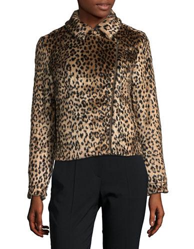 Design Lab Lord & Taylor Faux Fur Leopard Moto Jacket-BROWN-Medium 89630950_BROWN_Medium