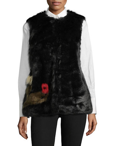 Design Lab Lord & Taylor Floral Faux Fur Vest-BLACK-Medium