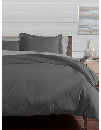 Distinctly Home Egyptian Cotton Duvet Cover-SMOKED PEARL-Queen