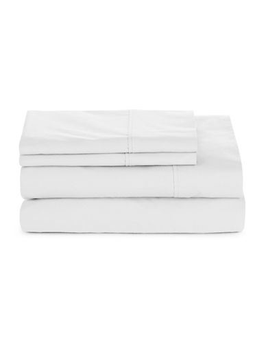 Glucksteinhome Four-Piece 300 Thread-Count Sheet Set-BRIGHT WHITE-Twin