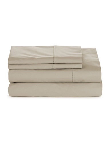 Glucksteinhome Four-Piece 300 Thread-Count Sheet Set-TAUPE-Queen