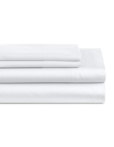 Home Studio Park Lawn 300 Thread-Count Three-Piece Sheet Set-WHITE-King