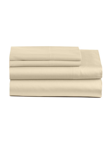 Home Studio Four-Piece 300 Thread-Count Sateen Sheet Set-IVORY-Double