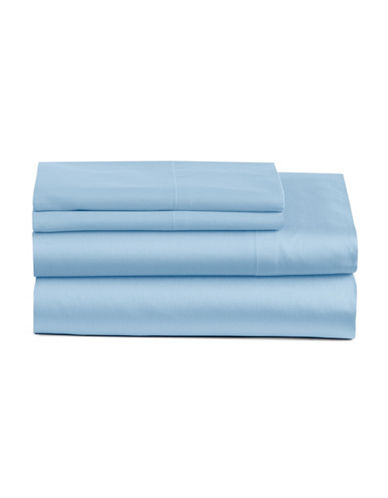 Home Studio Four-Piece 300 Thread-Count Park Lawn Sheet Set-BLUE-Queen