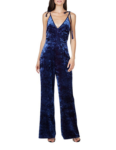 Adelyn Rae Regina Velvet Jumpsuit-NAVY-Medium