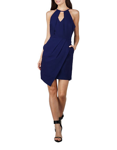 Adelyn Rae Tami Asymmetrical Sheath Dress-NAVY-Medium