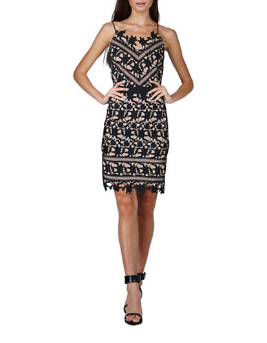 Adelyn Rae Whitney Lace Sheath Dress-BLACK/NUDE-Medium