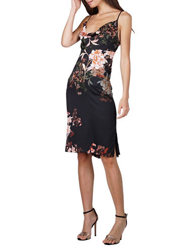 Adelyn Rae Rosanna Floral Satin Sheath Dress-BLACK MULTI-Medium