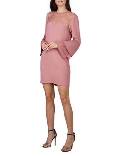 Adelyn Rae Raissa Long Sleeve Shift Dress-PINK-Large