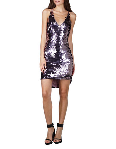 Adelyn Rae Davina Sequined Hi-Lo Sheath Dress-PURPLE-Medium