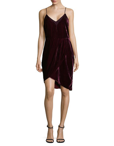 Adelyn Rae Velvet Asymmetric Slip Dress-RED-Small