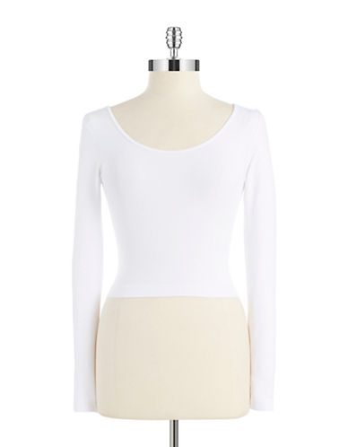 Design Lab Lord & Taylor Long Sleeved Crop Top-WHITE-One Size 87883363_WHITE_One Size