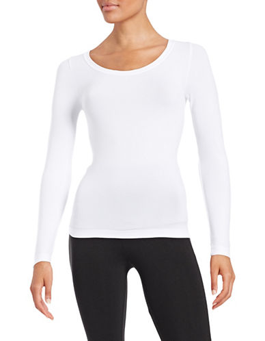 Design Lab Lord & Taylor Stretch Scoop Neck Tee-WHITE-One Size