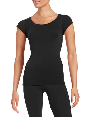 Design Lab Lord & Taylor Cap Sleeve Seamless Top-BLACK-One Size