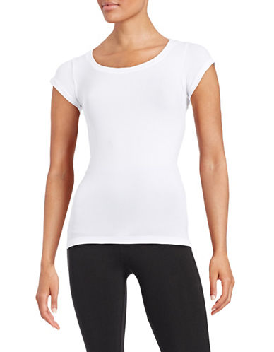 Design Lab Lord & Taylor Cap Sleeve Seamless Top-WHITE-One Size 87676093_WHITE_One Size