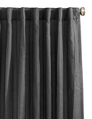 Glucksteinhome Botega Two Pack Back Tab Drapery Panels-CHARCOAL-96 inches