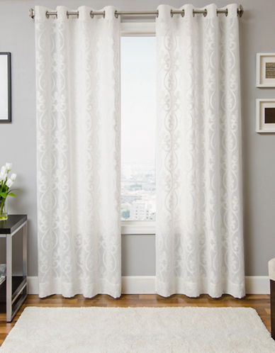 Home Outfitters Chaudel Grommeted Sheer Curtain Panel-WHITE-84 inches