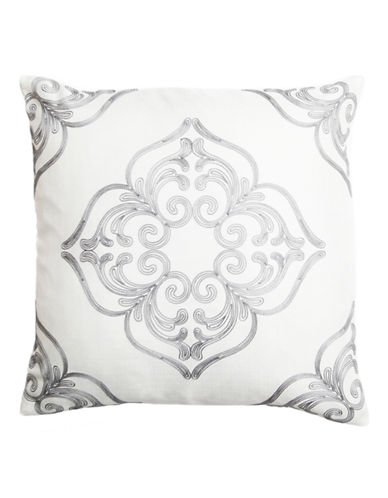 Home Outfitters Embroidered Mosaic Throw Pillow-GREY-20x20