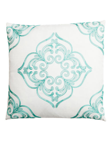 Home Outfitters Embroidered Mosaic Throw Pillow-TURQUOISE-20x20