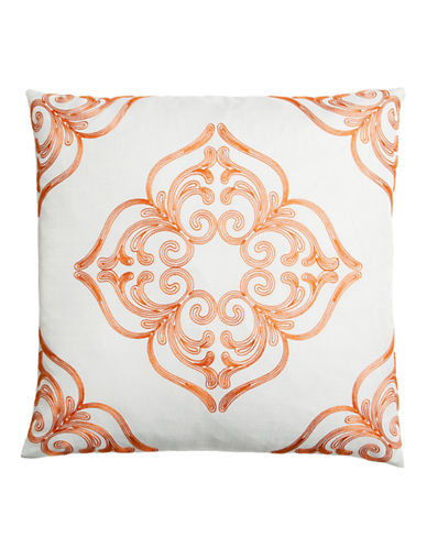 Home Outfitters Embroidered Mosaic Throw Pillow-ORANGE-20x20