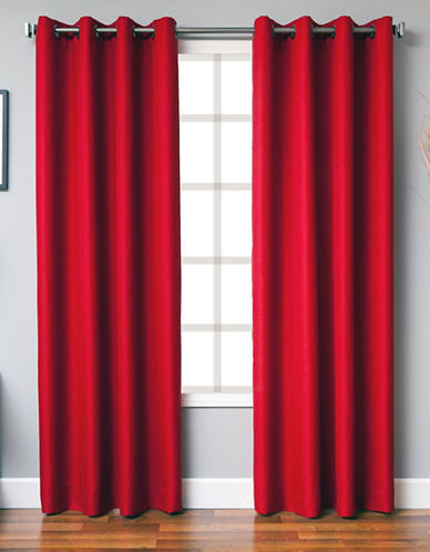 Distinctly Home Single Panel Grommet Top Curtain-RED-95 inches