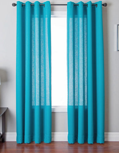 Distinctly Home Single Panel Grommet Top Curtain-TURQUOISE-84 inches