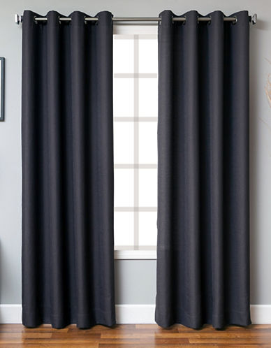 Distinctly Home Single Panel Grommet Top Curtain-BLACK-84 inches