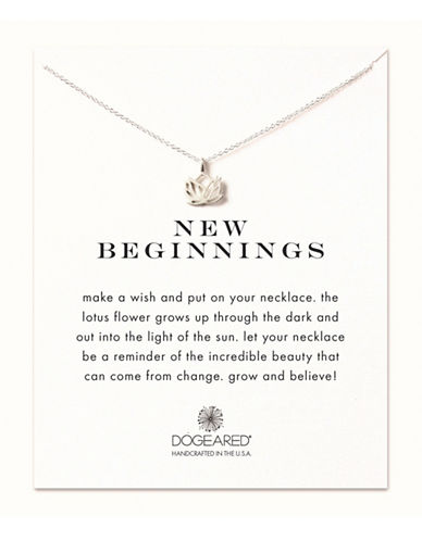 Dogeared New Beginnings Lotus Necklace-SILVER-One Size