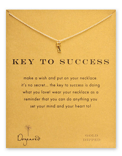 Dogeared Key To Success Necklace-GOLD-One Size