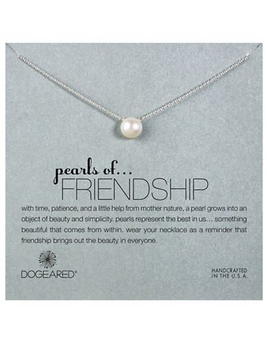 Dogeared pearls of Friendship Large Pearl Single Strand Necklace-SILVER-One Size
