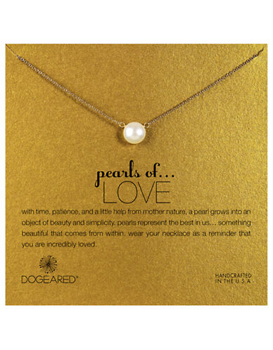 Dogeared Pearls of Love Large Pearl Single Strand Necklace-GOLD-One Size