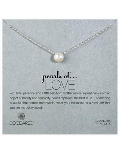 Dogeared Pearls of Love Large Pearl Single Strand Necklace-SILVER-One Size