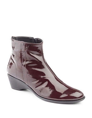 The Flexx Labyrinth Patent Leather Wedge Booties-BURGUNDY-7