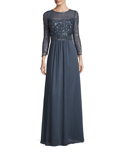 Decode 1.8 Sequined Lace Bodice Gown-GREY-6