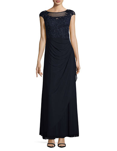 Decode 1.8 Cap Sleeve Applique Gown-NAVY-10