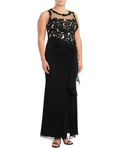 Decode 1.8 Ruched Illusion Lace Sheath Gown-BLACK-18W